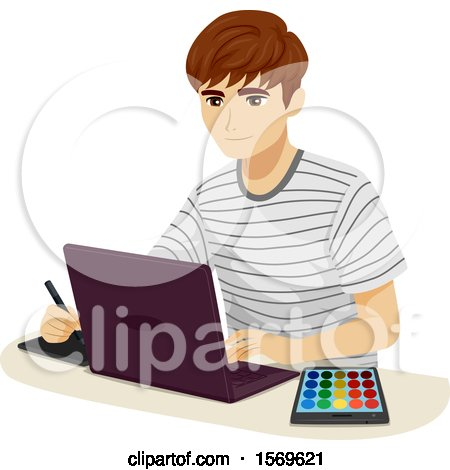 Clipart of a Teen Guy Using a Digital Pen, Laptop and Color Palette - Royalty Free Vector Illustration by BNP Design Studio