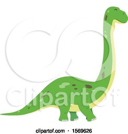 Clipart of a Green Brontosaurus Dinosaur - Royalty Free Vector Illustration by BNP Design Studio