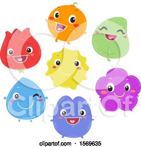 Clipart of a Happy Color Characters - Royalty Free Vector Illustration by BNP Design Studio