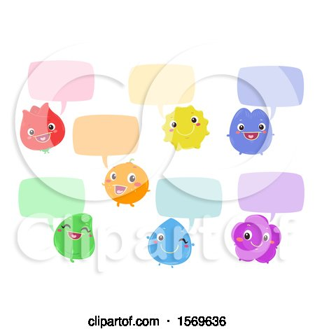 Clipart of Colorful Characters with Speech Balloons - Royalty Free Vector Illustration by BNP Design Studio