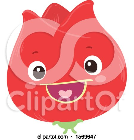 Clipart of a Happy Red Flower - Royalty Free Vector Illustration by BNP Design Studio
