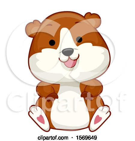 Clipart of a Cute Sitting Hamster - Royalty Free Vector Illustration by BNP Design Studio