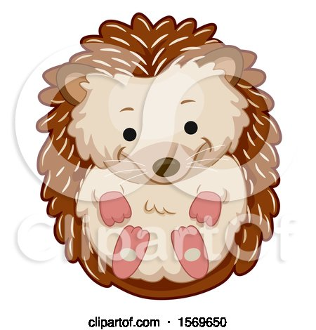 Clipart of a Cute Curled up Hedgehog - Royalty Free Vector Illustration by BNP Design Studio