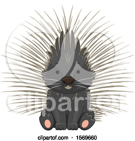 Clipart of a Cute Sitting Porcupine - Royalty Free Vector Illustration by BNP Design Studio