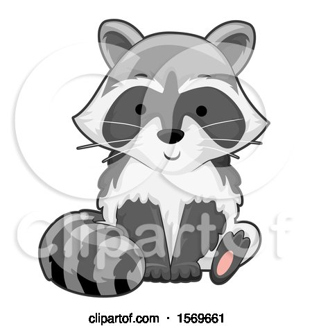 Clipart of a Cute Sitting Raccoon - Royalty Free Vector Illustration by BNP Design Studio