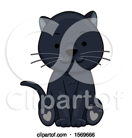 Clipart of a Cute Sitting Black Cat or Panther - Royalty Free Vector Illustration by BNP Design Studio
