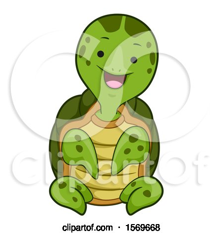 Clipart of a Cute Sitting Sea Turtle - Royalty Free Vector Illustration by BNP Design Studio