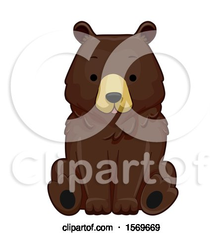Clipart of a Cute Sitting Brown Bear - Royalty Free Vector Illustration by BNP Design Studio