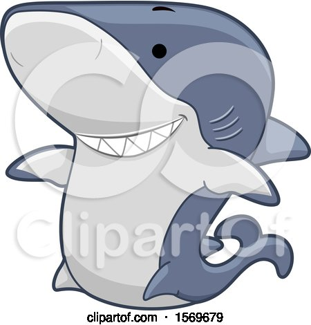 Clipart of a Cute Shark - Royalty Free Vector Illustration by BNP Design Studio