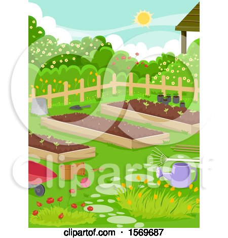 Clipart of a Vegetable Garden with Raised Beds and Flowers - Royalty Free Vector Illustration by BNP Design Studio