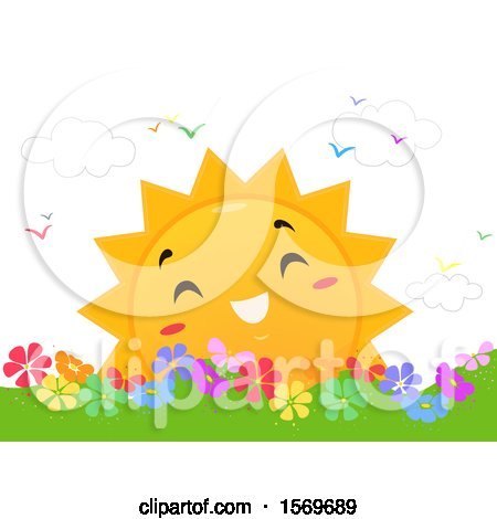 Clipart of a Happy Sun over a Flower Garden - Royalty Free Vector Illustration by BNP Design Studio