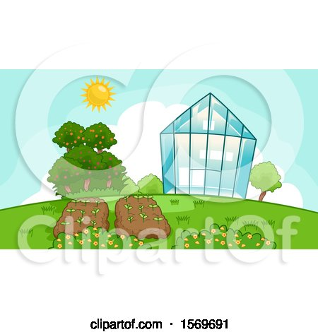Clipart of a Sunny Sky over a Greenhouse and Garden - Royalty Free Vector Illustration by BNP Design Studio