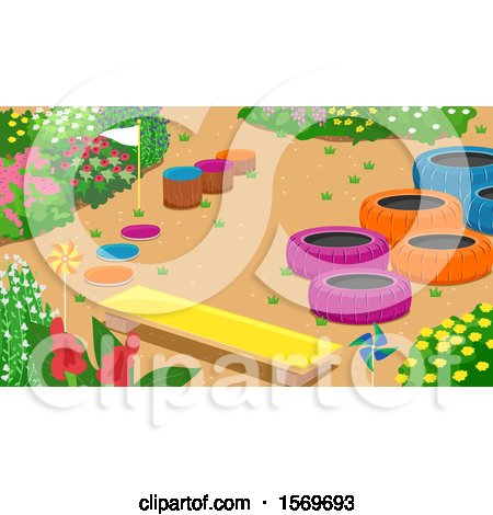 Bench and Colorful Tires and Stumps in a Garden Posters, Art Prints
