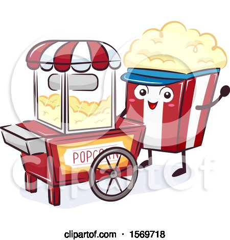 Clipart of a Popcorn Mascot Character at a Food Cart - Royalty Free Vector Illustration by BNP Design Studio