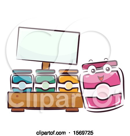 Clipart of a Jam Mascot Character at a Food Stand - Royalty Free Vector Illustration by BNP Design Studio