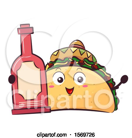 Clipart of a Taco Mascot Character Holding Hot Sauce - Royalty Free Vector Illustration by BNP Design Studio