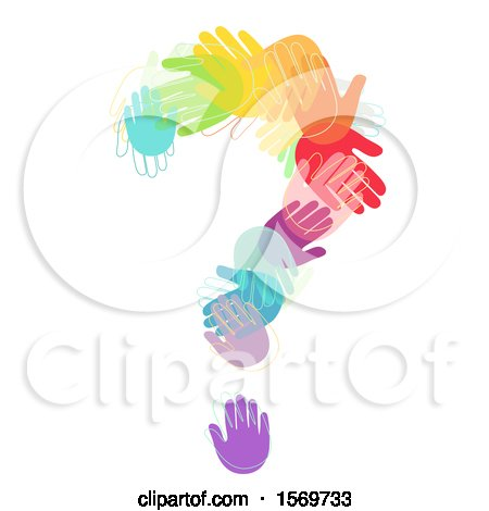 Clipart of a Question Mark Formed of Colorful Hands - Royalty Free Vector Illustration by BNP Design Studio