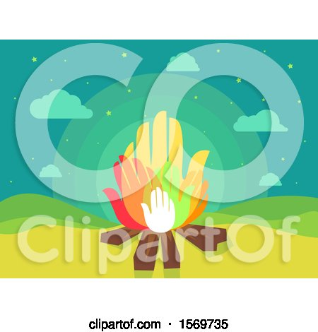 Clipart of a Camp Fire with Hand Flames - Royalty Free Vector Illustration by BNP Design Studio