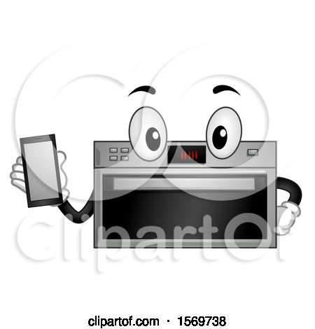 Clipart of a Smart Oven Character Holding a Cell Phone - Royalty Free Vector Illustration by BNP Design Studio
