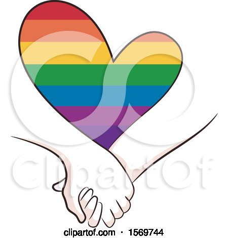 Clipart of a Couple Holding Hands Under a Rainbow Heart - Royalty Free Vector Illustration by BNP Design Studio