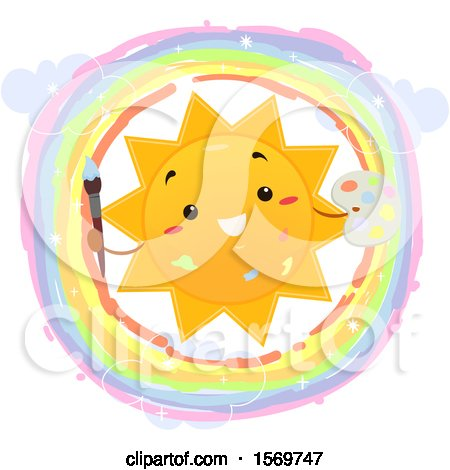 Clipart of a Happy Sun Holding a Paintbrush and Palette in a Rainbow Circle - Royalty Free Vector Illustration by BNP Design Studio