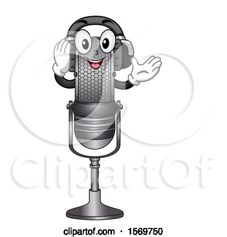 Clipart of a Microphone Mascot Character Wearing Headphones - Royalty Free Vector Illustration by BNP Design Studio