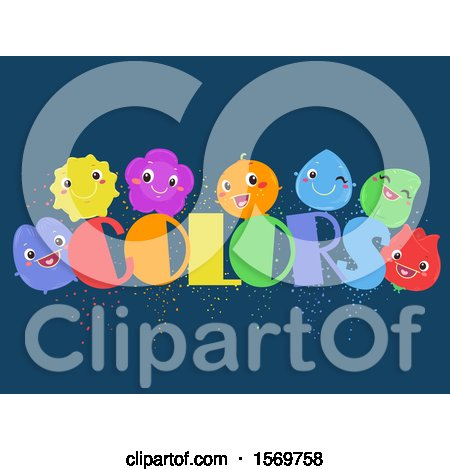 Clipart of a Group of Colorful Characters with Text on Blue - Royalty Free Vector Illustration by BNP Design Studio