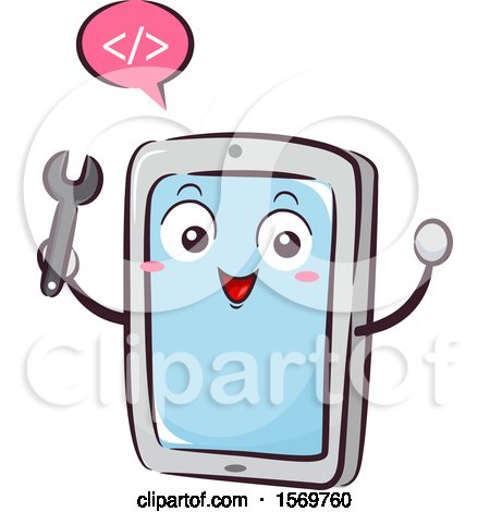 Clipart of a Tablet Mascot Holding a Wrench and Speaking Coding - Royalty Free Vector Illustration by BNP Design Studio