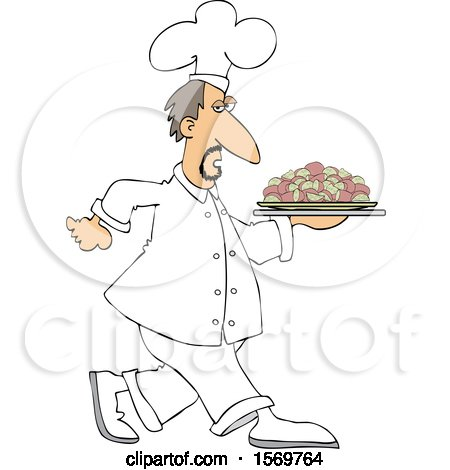Clipart of a White Male Chef Walking with a Platter of Potatoes - Royalty Free Vector Illustration by djart