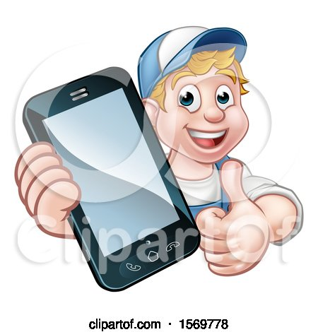 Clipart of a White Male Handyman Giving a Thumb up and Holding out a Smart Phone - Royalty Free Vector Illustration by AtStockIllustration