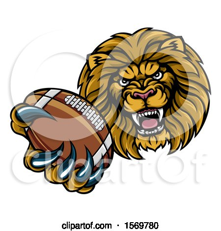 Clipart of a Tough Lion Monster Mascot Holding out a Tennis Ball in One Clawed Paw - Royalty Free Vector Illustration by AtStockIllustration