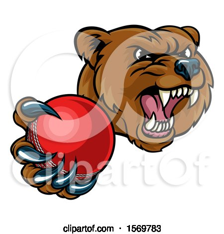 Clipart of a Mad Grizzly Bear Mascot Holding out a Cricket Ball in a Clawed Paw - Royalty Free Vector Illustration by AtStockIllustration