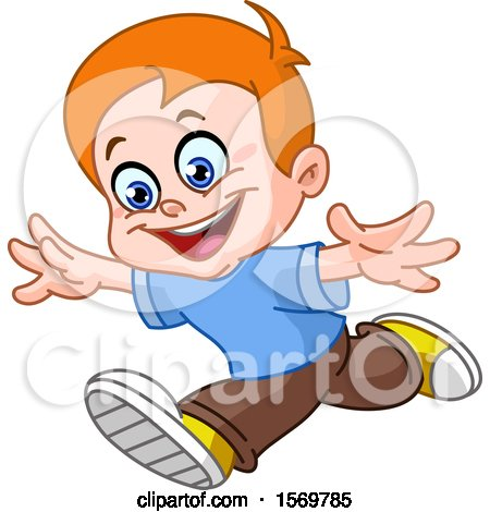 Clipart of a Happy Red Haired Boy Running - Royalty Free Vector Illustration by yayayoyo