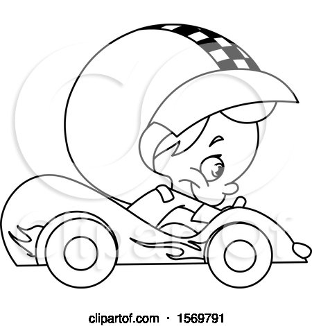 Clipart Of A Lineart Cute Boy Driving A Race Car