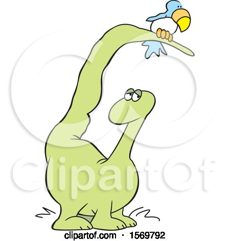 Clipart of a Cartoon Dinosaur with a Bird on His Tail - Royalty Free Vector Illustration by Johnny Sajem