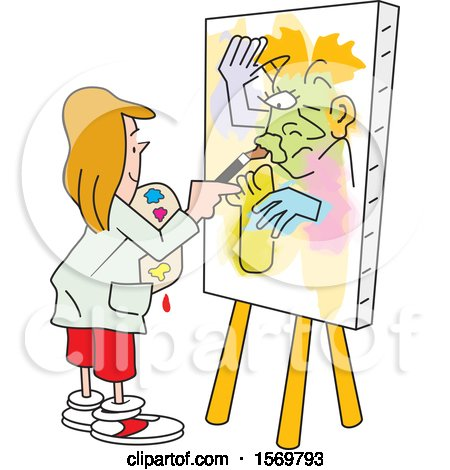 Clipart of a Girl Painting Art on Canvas, No Picasso - Royalty Free Vector Illustration by Johnny Sajem