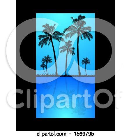 Clipart of Silhouetted Palm Trees Reflecting on Still Blue Water, with a Black Border - Royalty Free Vector Illustration by elaineitalia