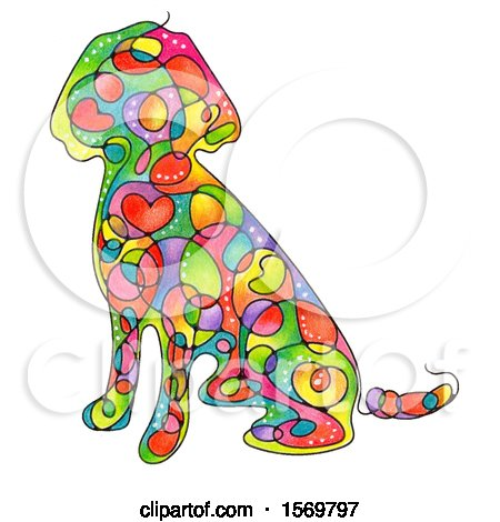 Clipart of a Colorful Sitting Dog with Hearts and Swirls - Royalty Free Illustration by Maria Bell