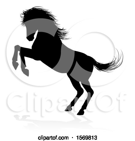 Clipart of a Silhouetted Rearing Horse with a Shadow on a White Background - Royalty Free Vector Illustration by AtStockIllustration