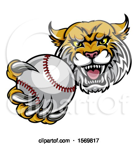 Clipart of a Tough Lynx Monster Mascot Holding out a Baseball in One Clawed Paw - Royalty Free Vector Illustration by AtStockIllustration