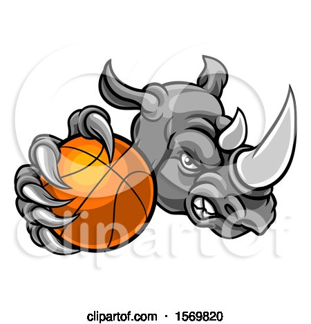 Clipart of a Tough Rhino Monster Mascot Holding out a Basketball in One Clawed Paw - Royalty Free Vector Illustration by AtStockIllustration