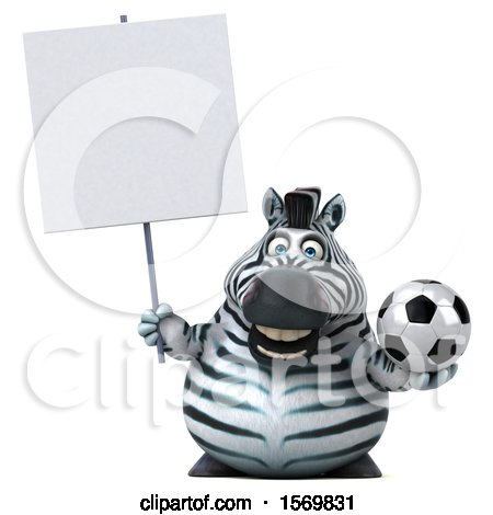 Clipart of a 3d Zebra Holding a Soccer Ball, on a White Background - Royalty Free Illustration by Julos