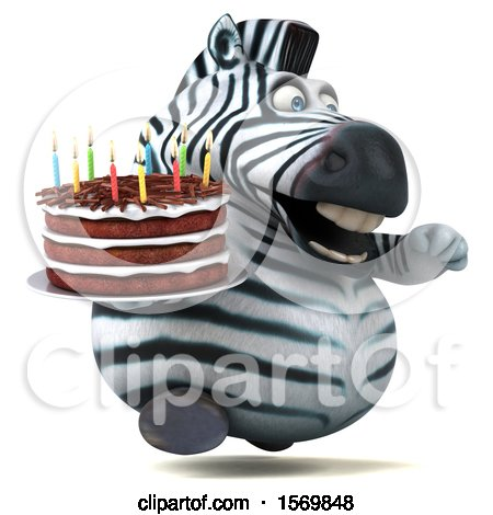 Clipart of a 3d Zebra Holding a Birthday Cake, on a White Background - Royalty Free Illustration by Julos
