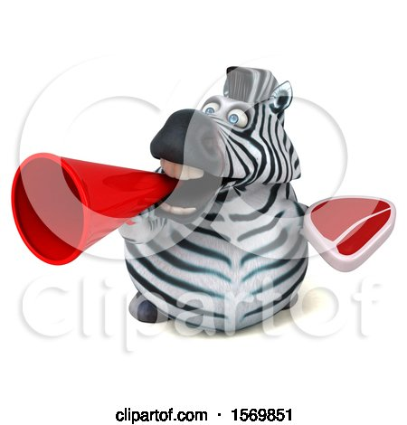 Clipart of a 3d Zebra Holding a Steak, on a White Background - Royalty Free Illustration by Julos