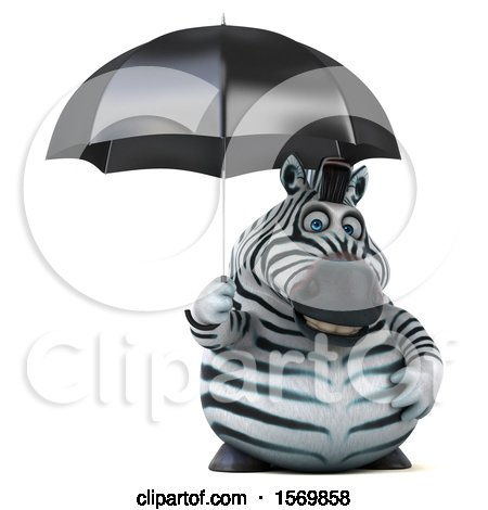 Clipart of a 3d Zebra Holding an Umbrella, on a White Background - Royalty Free Illustration by Julos