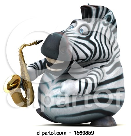 Clipart of a 3d Zebra Holding a Saxophone, on a White Background - Royalty Free Illustration by Julos