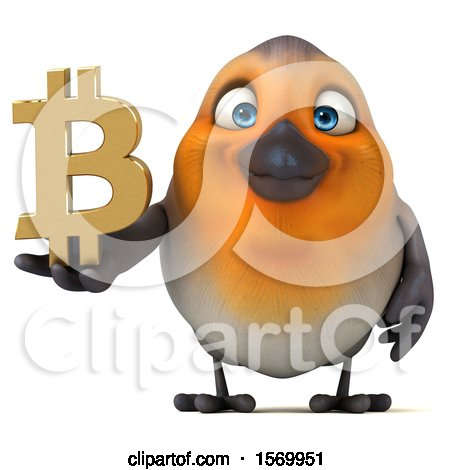 Clipart of a 3d Robin Bird Holding a Bitcoin Symbol, on a White Background - Royalty Free Illustration by Julos