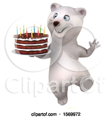 Clipart of a 3d Polar Bear Holding a Birthday Cake, on a White Background - Royalty Free Illustration by Julos