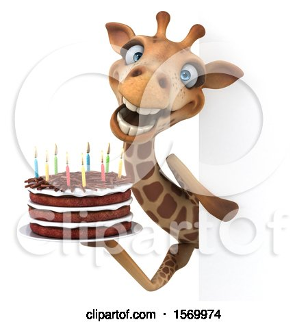 Clipart of a 3d Giraffe Holding a Birthday Cake, on a White Background - Royalty Free Illustration by Julos