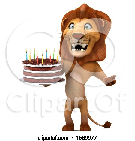 Clipart of a 3d Lion Holding a Birthday Cake, on a White Background - Royalty Free Illustration by Julos